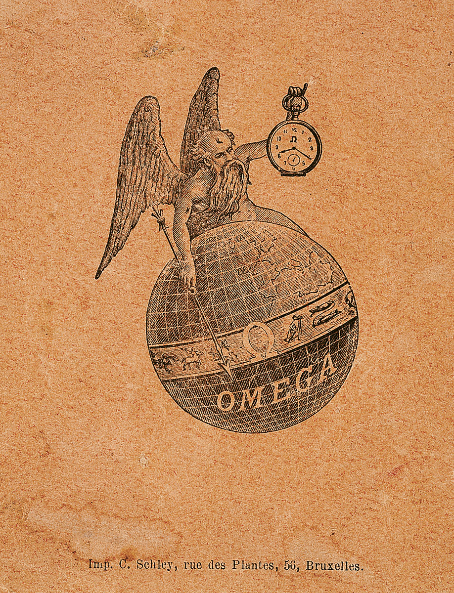 OMEGA first publicity with its brand and symbol