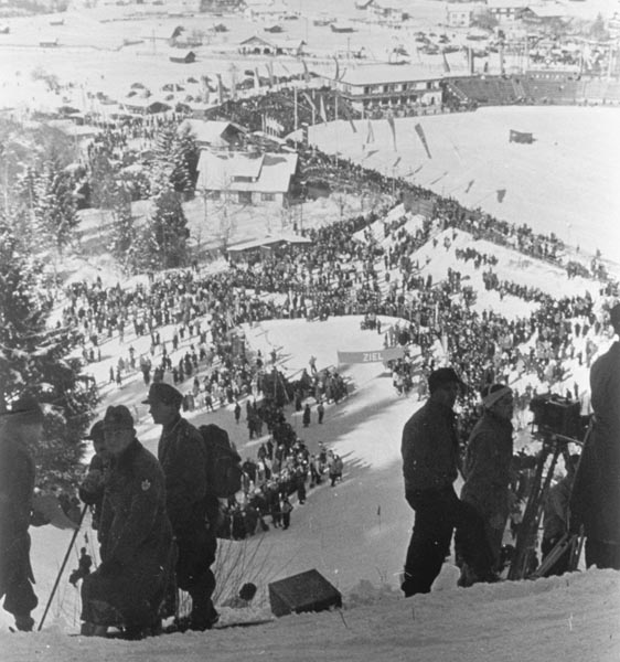 The finish of the skiing competition at the 1936 Olympic Winter Games