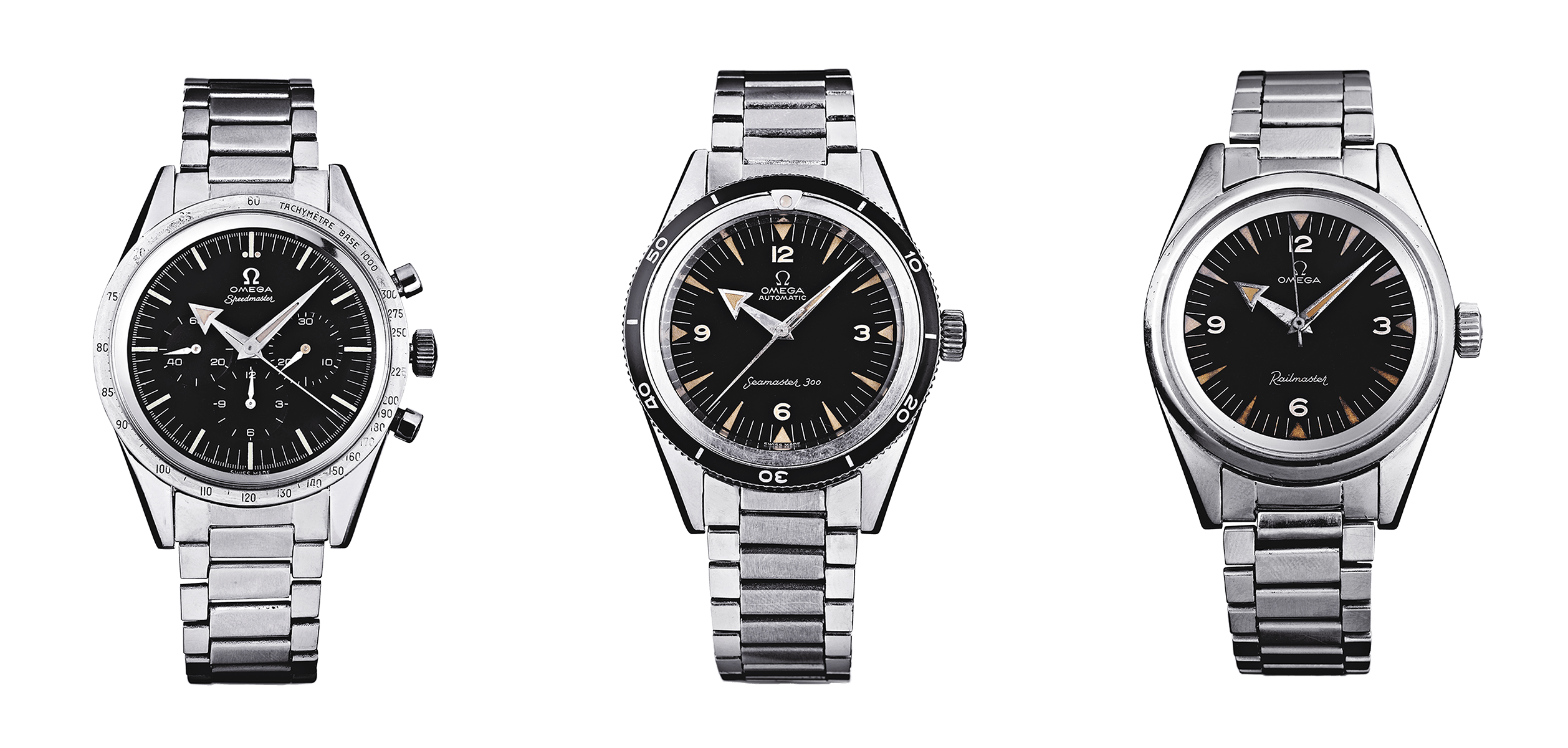 The 1957 professional watches by OMEGA: the Speedmaster, Seamaster 300 and Railmaster