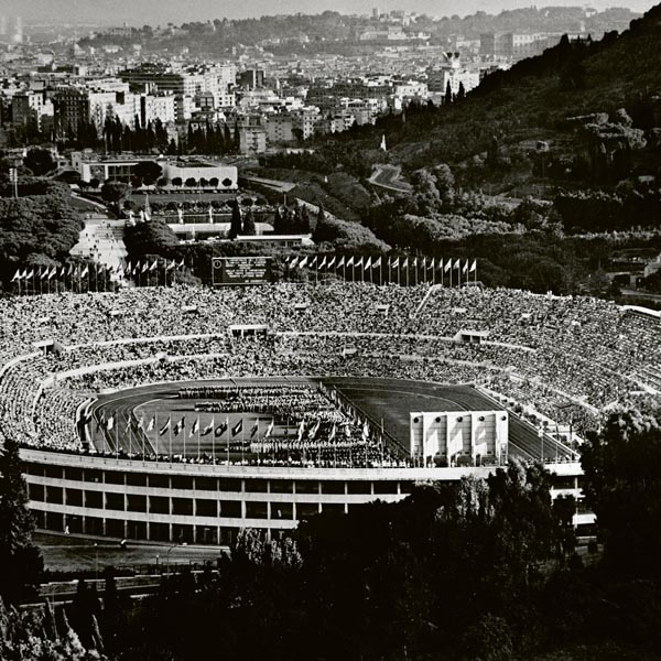 Crowded stadium during the 1960 Olympic Games in Rome