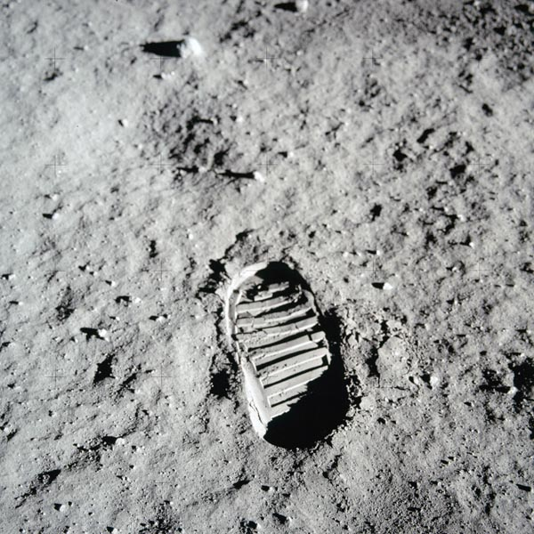 The iconic footprint made on the lunar surface during the first journey to the moon