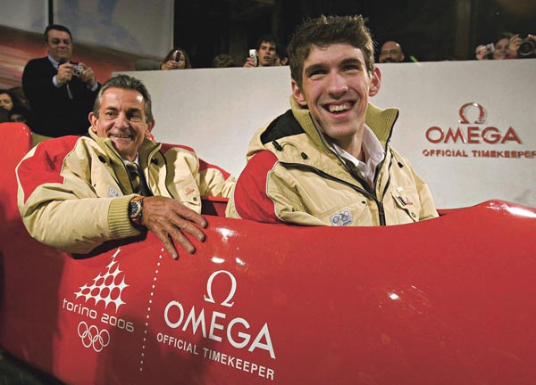 Michael Phelps in a bobsleigh in Turin 2006