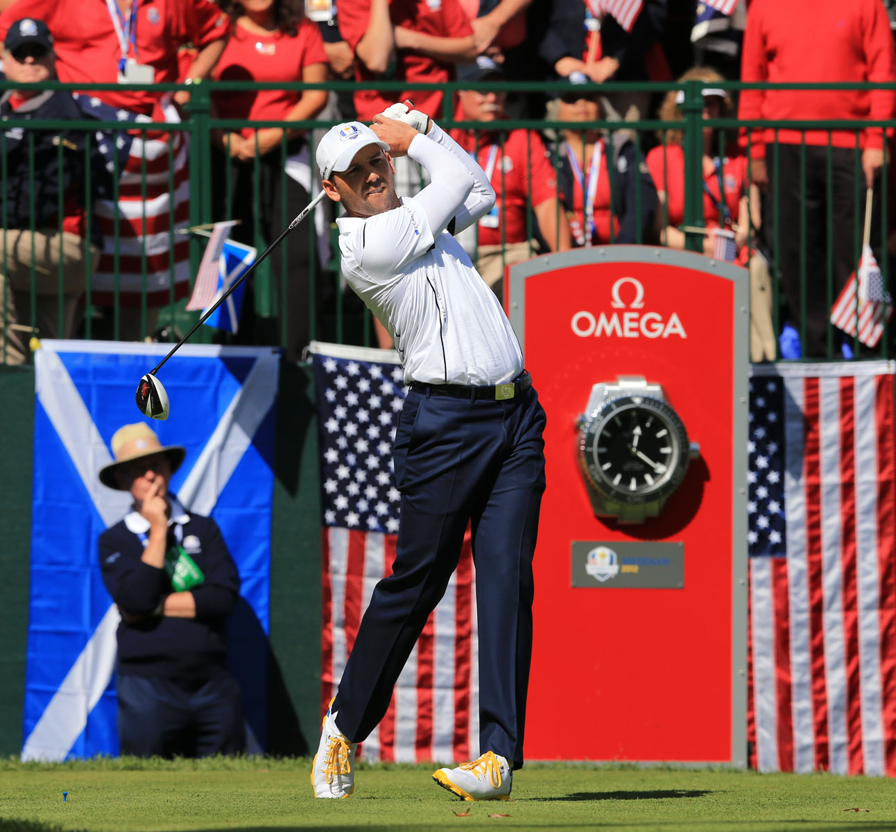 Golfer Sergio Garcia tees off at the PGA of America golf tournament