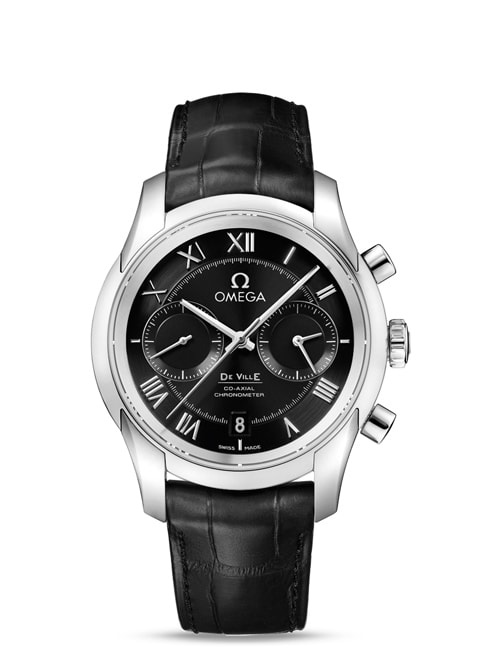 De Ville GENTS' COLLECTION Omega Co-Axial Chronograph 42 mm - Steel on leather strap