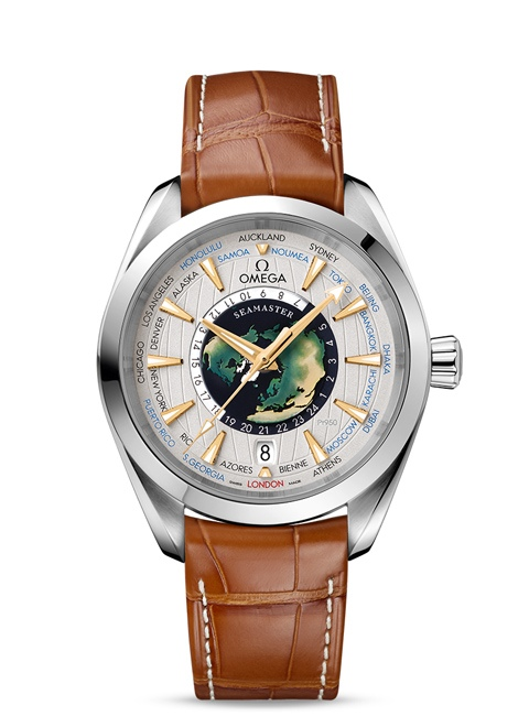 Seamaster Aqua Terra 150M Omega Co-Axial Master Chronometer GMT Worldtimer 43 mm - Platinum on leather strap