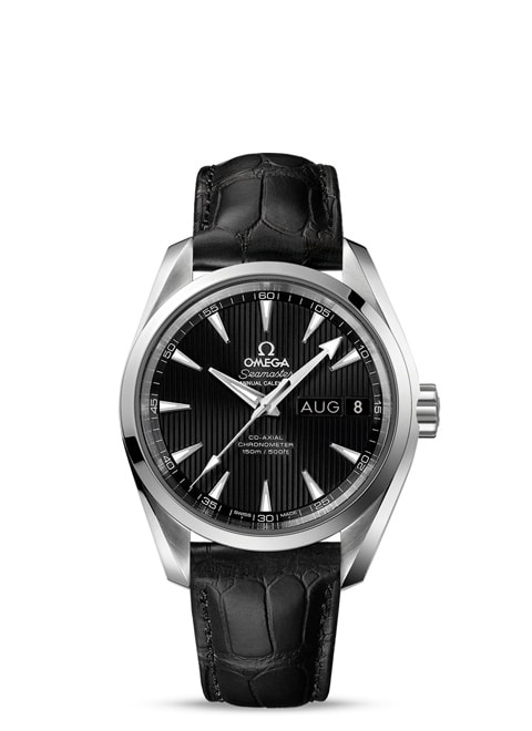 Seamaster Aqua Terra 150M Omega Co-Axial Annual Calendar 38.5 mm - Steel on leather strap