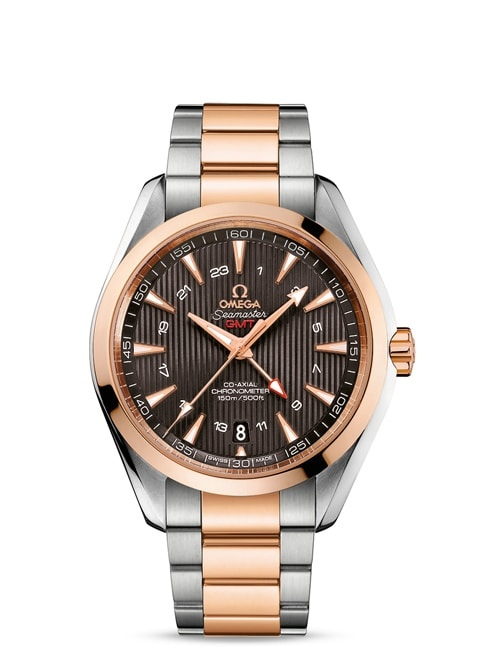 Seamaster Aqua Terra 150M Omega Co-Axial GMT 43 mm - Steel ‑ red gold on Steel ‑ red gold