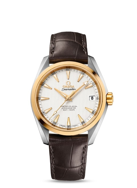 Seamaster Aqua Terra 150M Omega Master Co-Axial 38.5 mm - Steel ‑ yellow gold on leather strap