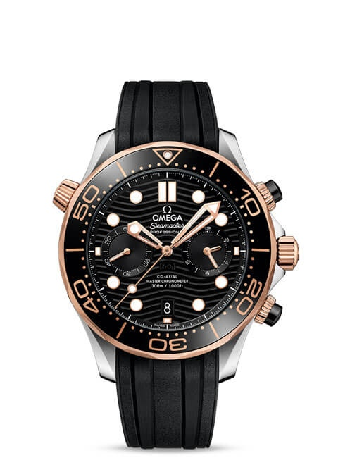 Seamaster Diver 300 M Omega Co-Axial Master Chronometer Chronograph 44 mm - Steel ‑ Sedna™ Gold on rubber strap