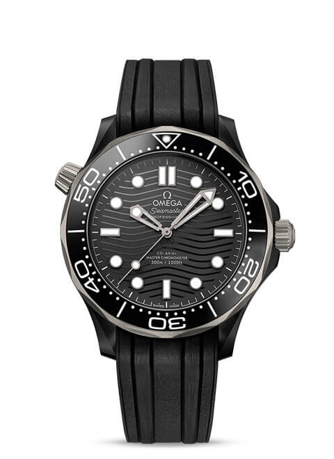 Seamaster Diver 300 M Omega Co-Axial Master Chronometer 43.5 mm - Black ceramic on rubber strap
