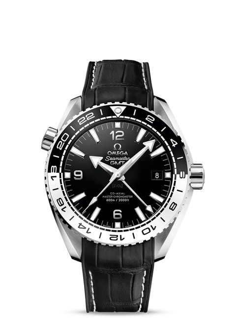 Seamaster Planet Ocean 600M Omega Co-axial Master Chronometer GMT 43.5 mm - Steel on leather strap with rubber lining