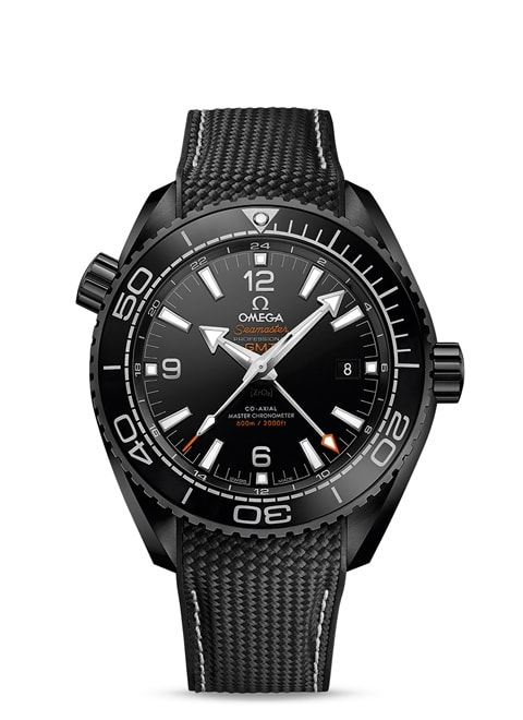 Seamaster Planet Ocean 600M Omega Co-axial Master Chronometer GMT 45.5 mm - Black ceramic on rubber strap