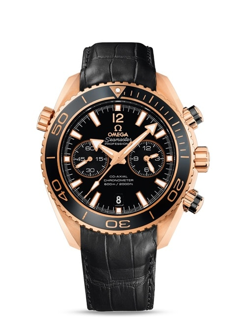Seamaster Planet Ocean 600M Omega Co-Axial Chronograph 45.5 mm - Red gold on leather strap