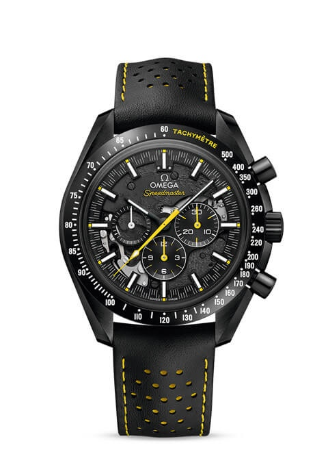 Speedmaster Moonwatch Chronograph 44.25 mm - Black ceramic on leather strap