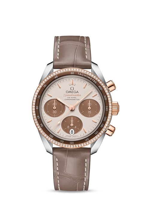 Speedmaster 38 mm Co-Axial Chronograph 38 mm - Acero ‑ oro Sedna™ con Pulsera de piel