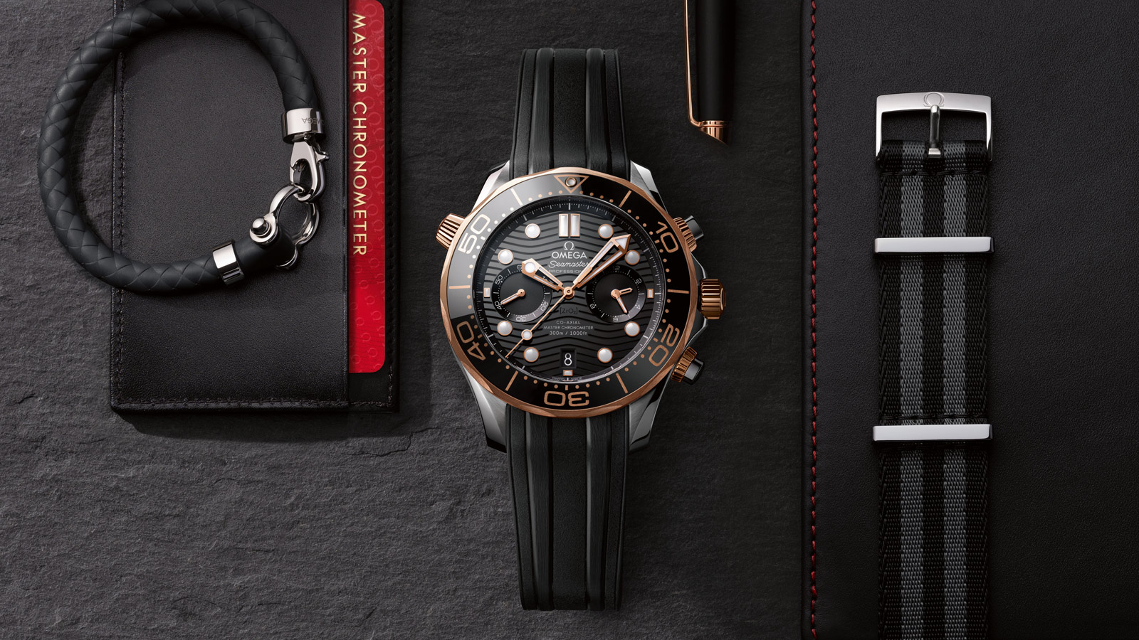 Seamaster Diver 300 M Diver 300M Omega Co‑Axial Master Chronometer Chronograph 44 mm Relógio - 210.22.44.51.01.001