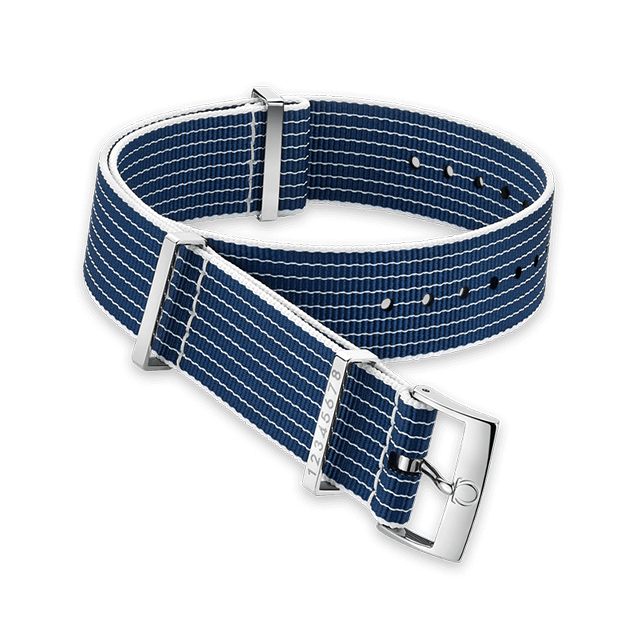 Polyamide striped blue and white racetrack‑style strap lane numbers engraved on the fitted keeper - 031CWZ005945