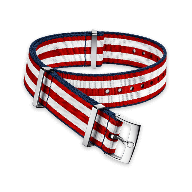 Polyamide 5‑stripe red & white strap with blue borders - 031CWZ010618