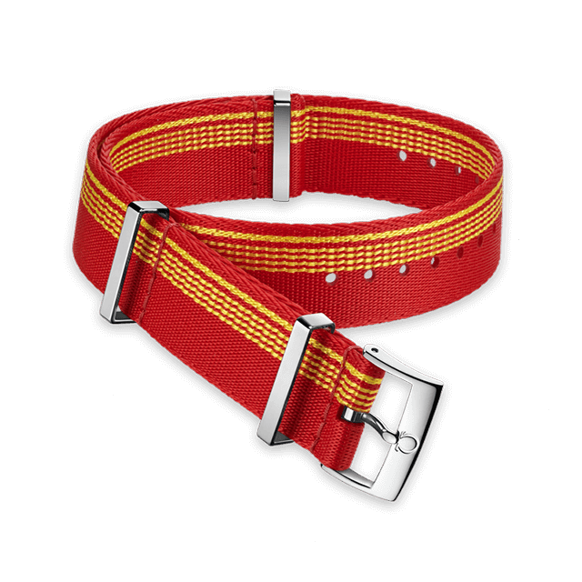 Polyamide red strap with yellow stripes  - 031CWZ010620