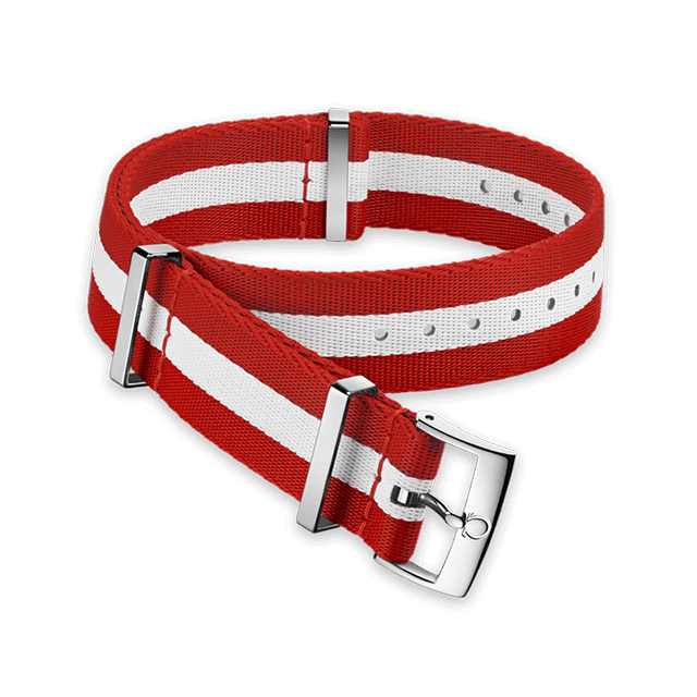 Polyamide 3‑stripe red and white strap - 031CWZ010624