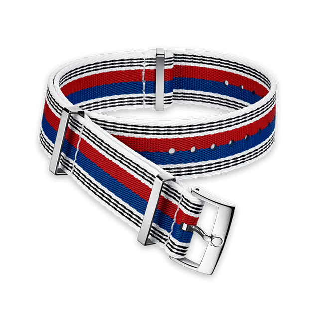 Polyamide white strap with red, blue and black stripes - 031CWZ010636