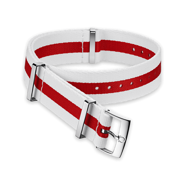 Polyamide 3‑stripe white and red strap - 031CWZ010640