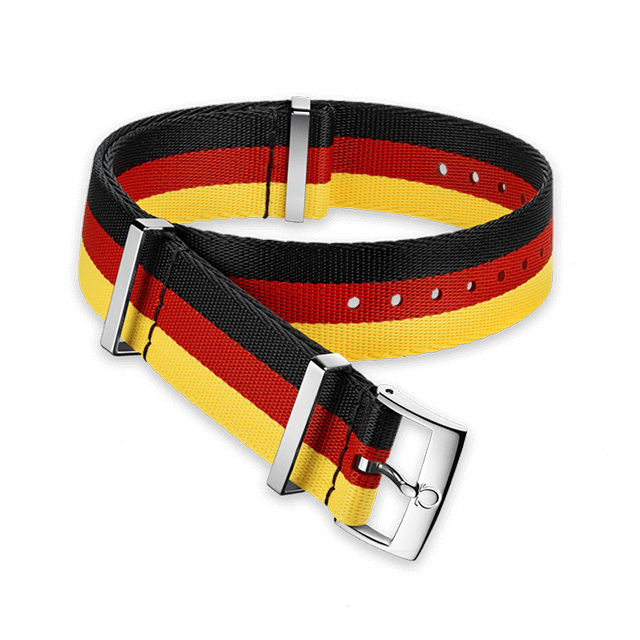 Polyamide 3‑stripe black, red and yellow strap - 031CWZ010652