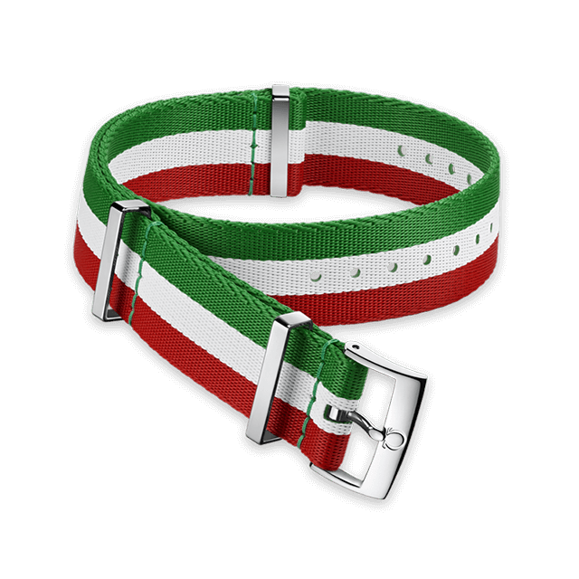 Polyamide 3‑stripe green, white and red strap - 031CWZ010656