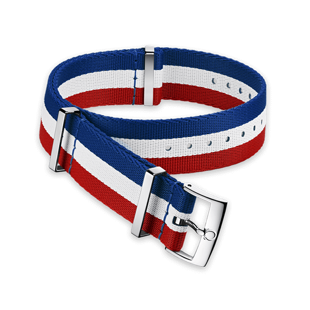 Polyamide 3‑stripe blue, white and red strap - 031CWZ010674