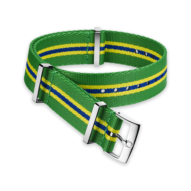 Polyamide 5‑stripe green, yellow and blue strap - 031CWZ010678