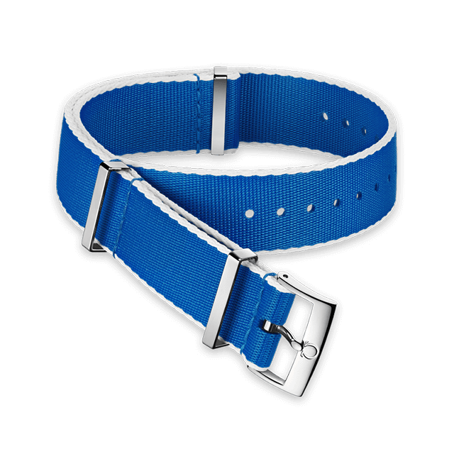 Polyamide blue strap, white‑bordered - 031CWZ010702