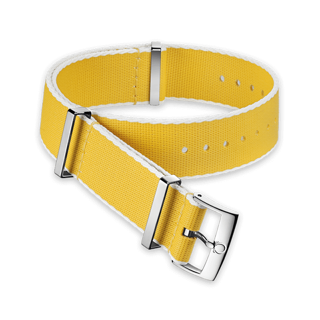 Polyamide yellow strap, white‑bordered - 031CWZ010706