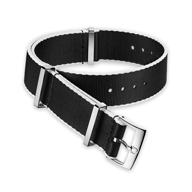 Polyamide black strap, white‑bordered - 031CWZ010710