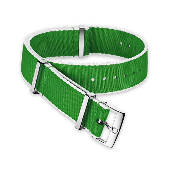 Polyamide green strap, white‑bordered - 031CWZ010714