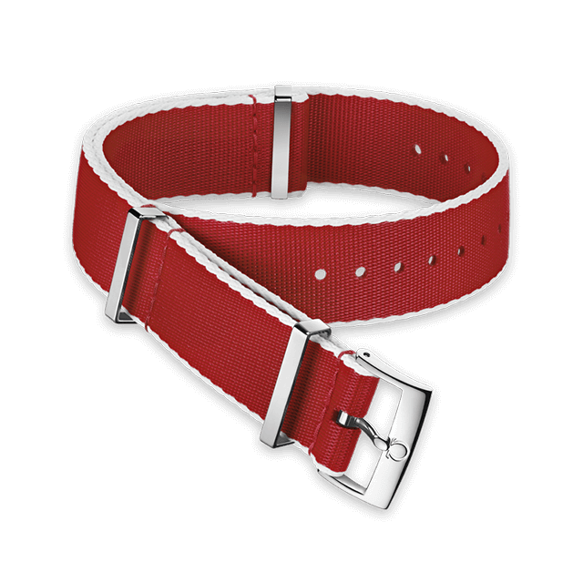 Polyamide red strap, white‑bordered - 031CWZ010718