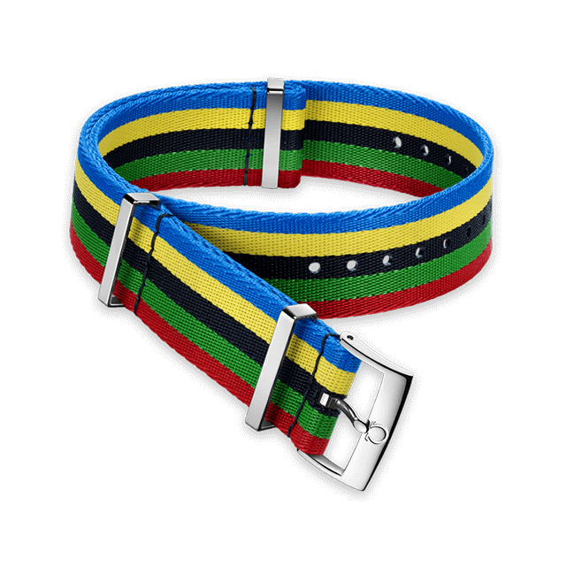 Polyamide 5‑stripe blue, yellow, black, green & red strap - 031CWZ010736