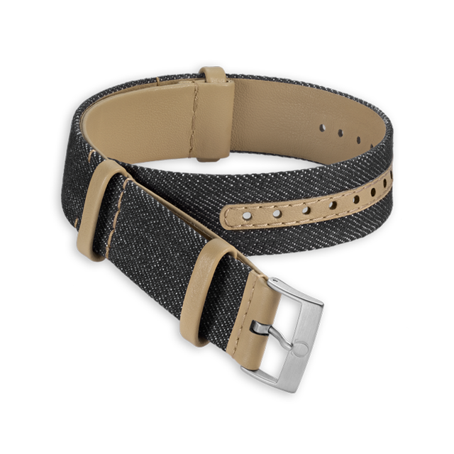 Black denim and leather strap - 031CWZ010933