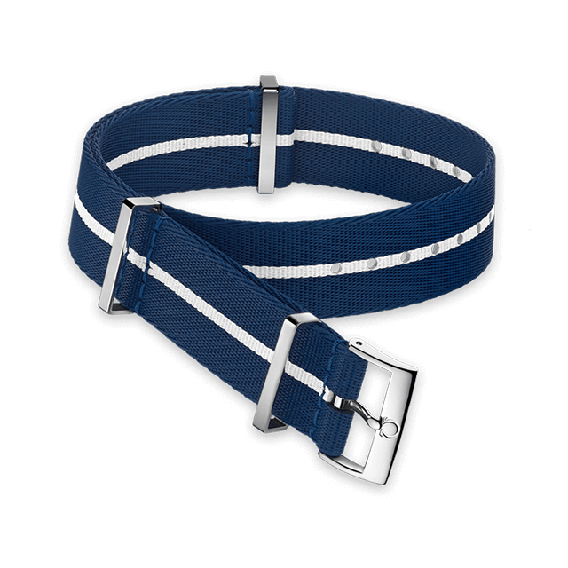 Polyamide blue strap with white stripe - 031CWZ014677