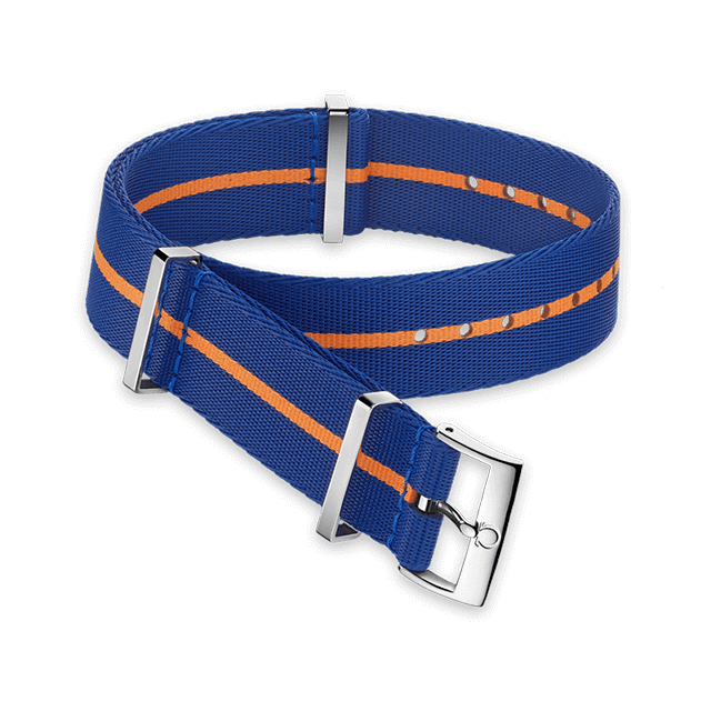 Polyamide blue strap with orange stripe - 031CWZ014700