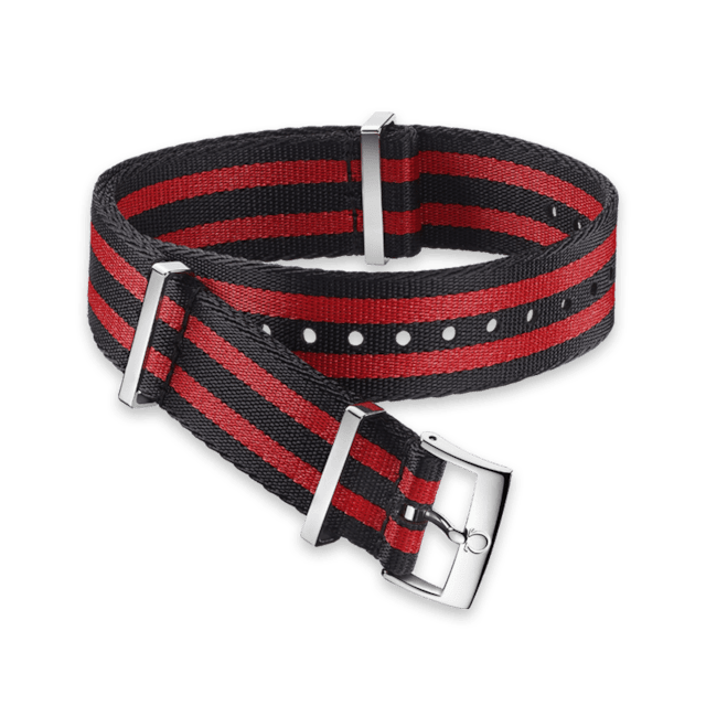 Polyamide 5‑stripe black & red strap - 031ZSZ002050