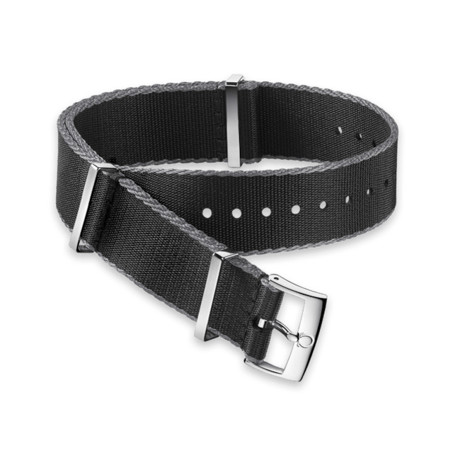 Polyamide black strap, grey‑bordered - 031ZSZ002044