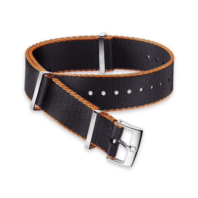 Polyamide black strap, orange‑bordered - 031ZSZ002046