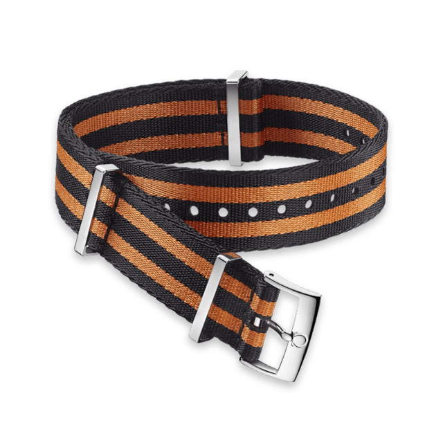 Polyamide 5‑stripe black & orange strap - 031ZSZ002055