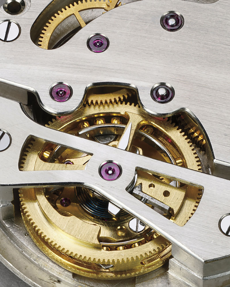 Close view of the mechanism of the 1947 Tourbillon watch