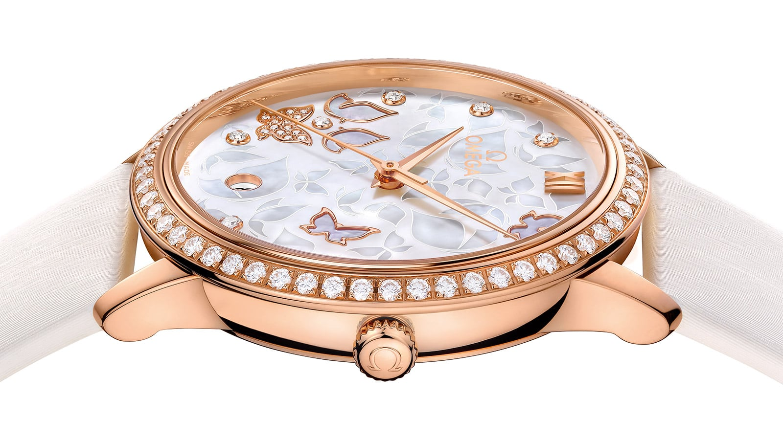Side view of a Prestige Butterfly rose gold watch and its crown engraved with an Omega logo