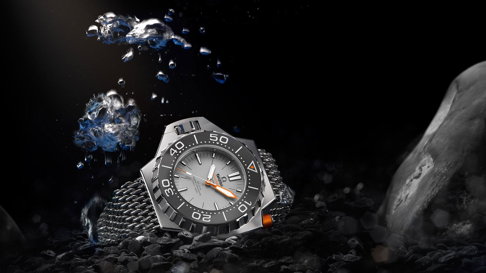 Ploprof 1200 M watch with titanium bracelet and grey benzel and face presented underwater
