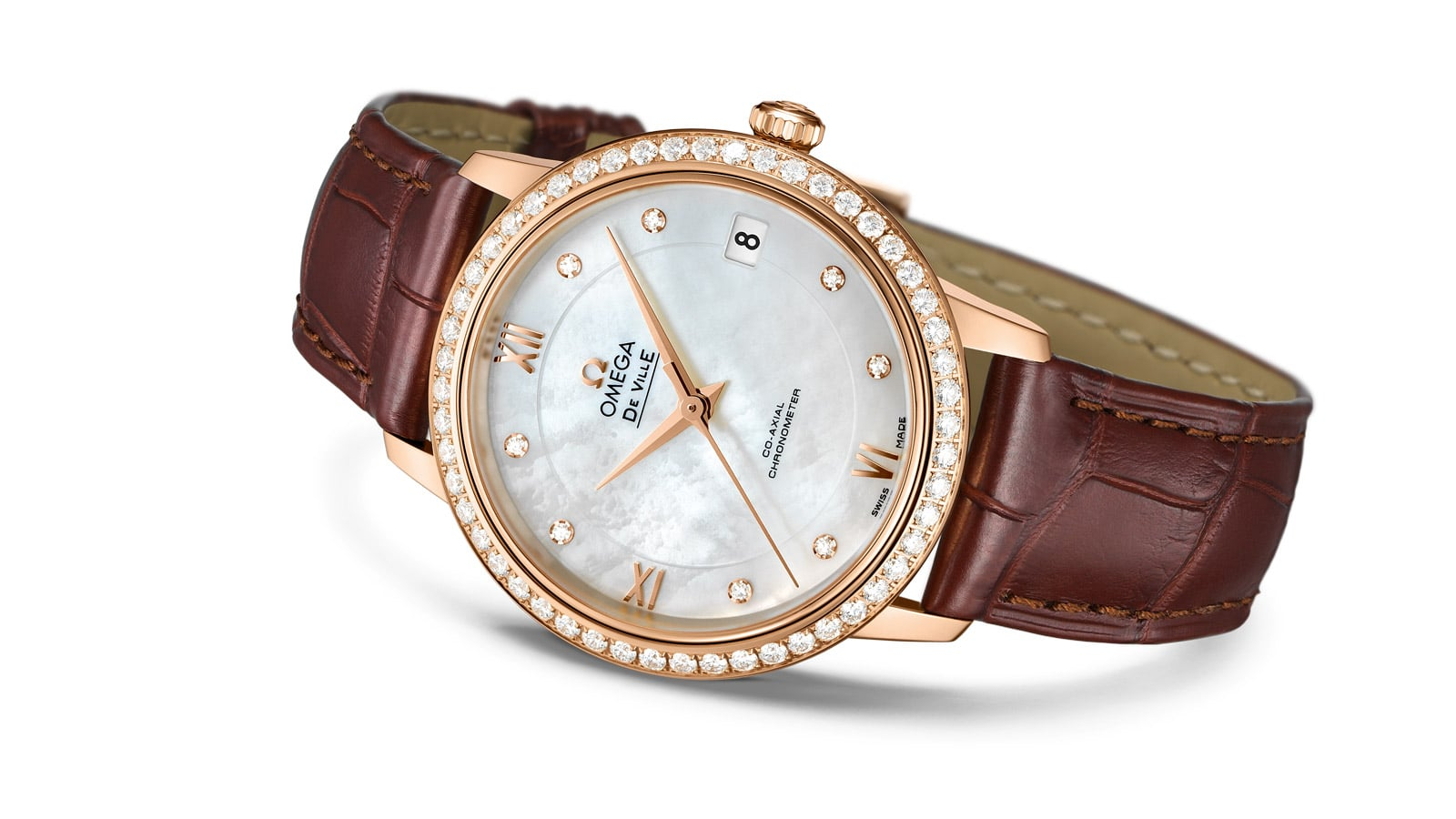 54a8367c7da75 Prestige watch for ladies with a gold diamond encrusted case and leather  strap