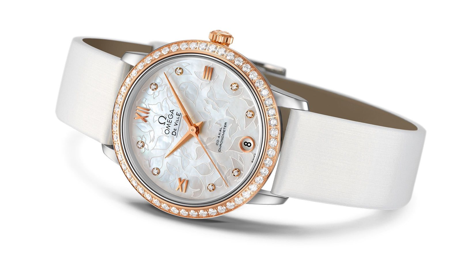 Elegant Prestige butterfly with a white strap, rose gold dial with encrusted diamonds and mother-of-pearl dial engraved with butterflies