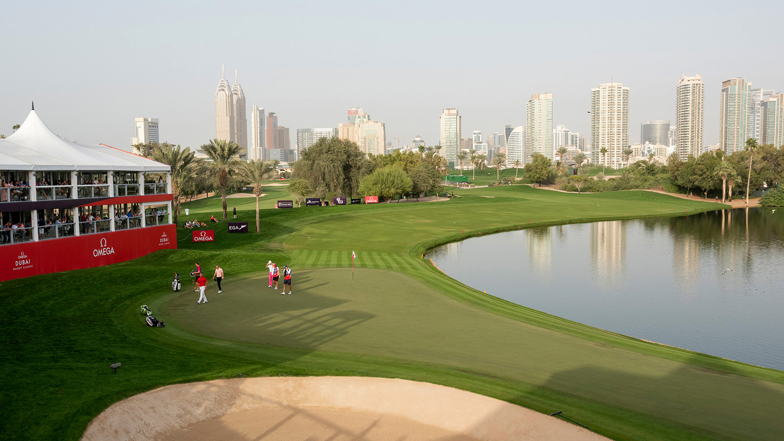 Talented golfers competing on the renowned Majlis Course at the Emirates Golf Club