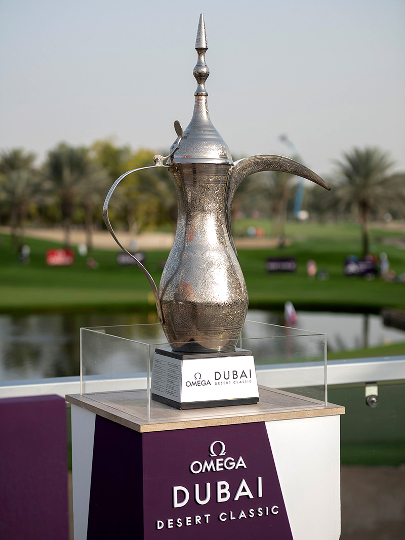 "'Dallah' trophy, symbol of the golf tournament ""Major of the Middle East"""